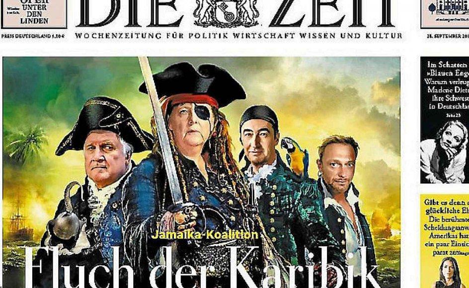 """Tyskland forventes at blive regeret af en såkaldt Jamaica-koalition, opkaldt efter farverne på de partier, som den vil udgøres af, nemlig CDU (sort), De Grønne og De Frie Demokrater (gul). Her beskrevet på forsiden af avisen Die Zeit med klare referencer til sørøverfilmen """"Pirates of the Caribbean."""""""
