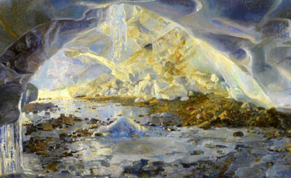 """Maleren Aage Bertelsen (1873-1945) var en af 28 mænd, der drog ud til det allernordligste Grønland på Danmark-ekspeditionen 1906-1908 med det formål at kortlægge den nordøstlige kyst af Grønland. Hans maleri """"Gnipahulen"""" er fra 1907. –"""