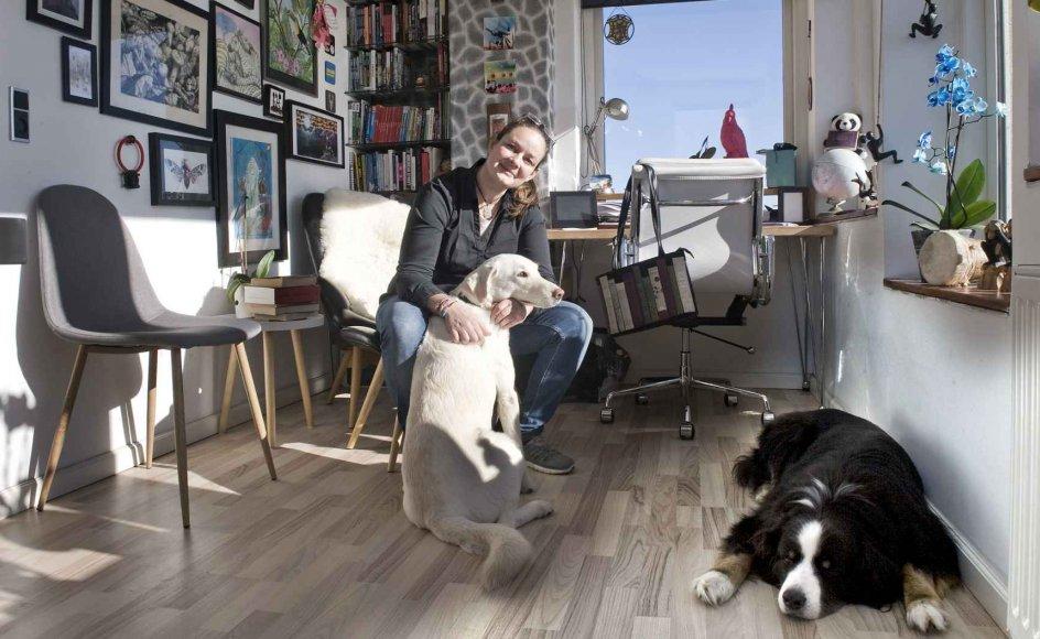 Lise Bidstrup i sit skriveværelse med udsigt ud over Øresund sammen med hundene Frøken og Sakki. –