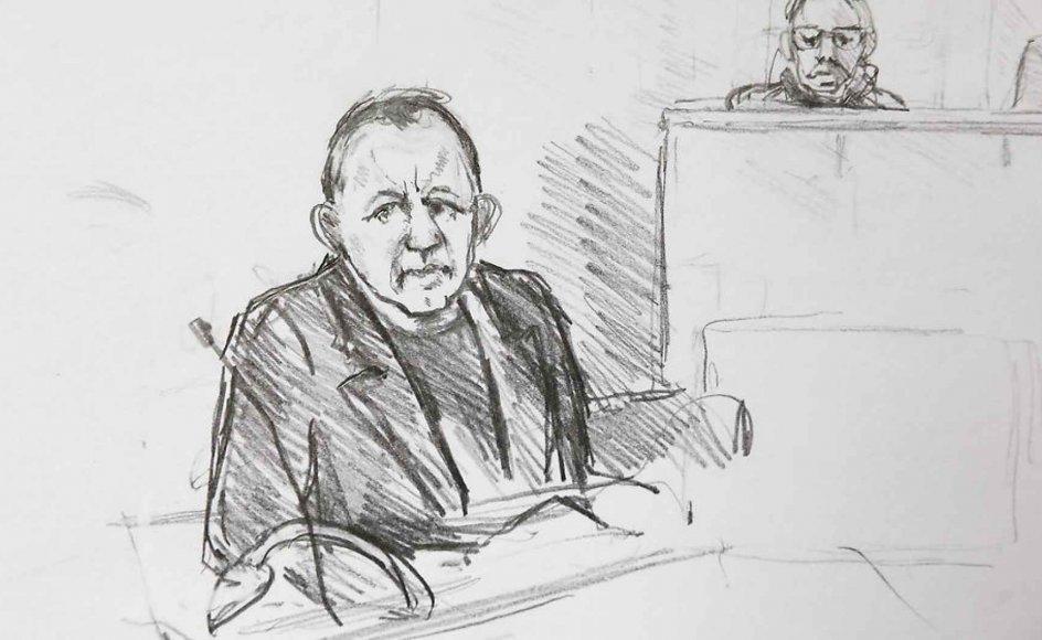 Peter Madsen tegnet i Københavns Byret i forbindelse med sagen om drabet på den svenske journalist Kim Wall. Onsdag blev han dømt skyldig.