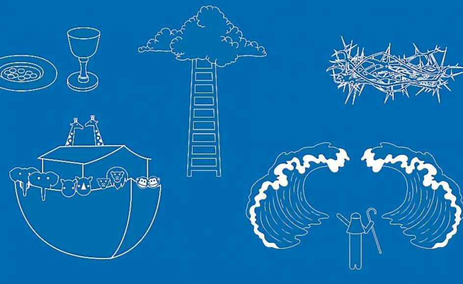 Hvordan var det nu med historierne om Noas Ark, Moses og Det Røde Hav og himmelstigen? Find disse og andre af de mest kendte og udbredte fortællinger i Bibelen i Kristeligt Dagblads nye specialhistorie. – Illustration: Barbara Dahl Poulsen.