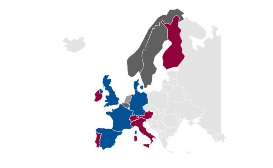 I Europa betragter næsten tre fjerdedele sig stadig som kristne, også selvom det kun er 22 procent, der jævnligt går i kirke. Den blå farve indikerer lande, hvor 60-74 procent identificerer sig som kristne, og for den røde farve er tallet 75 procent eller derover.