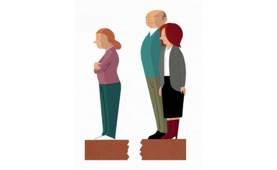 Der kan være mange årsager til at trække så markant en streg i sandet, som man gør, når man bryder kontakten med en forælder. Marion Thorning, der er konfliktmægler med speciale i familie- og generationskonflikter, peger på, at typiske situationer, hvor et brud kan være nødvendigt, er fysisk og psykisk vold, overgreb og misbrug i familien.Tegning: Morten Voigt
