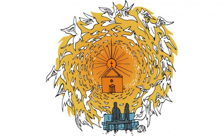 Problemet er, at mange betragter kristendommen som en slags stige, vi har anvendt til at klatre op på et højere civilisatorisk niveau, hvor vi nu befinder os. Lad os kalde det liberalt demokrati. Derfor kan vi tillade os at sparke stigen væk, for vi behøver den ikke længere. Vi er jo nået herop, skriver forfatter Kasper Støvring. Illustration: Søren Mosdal