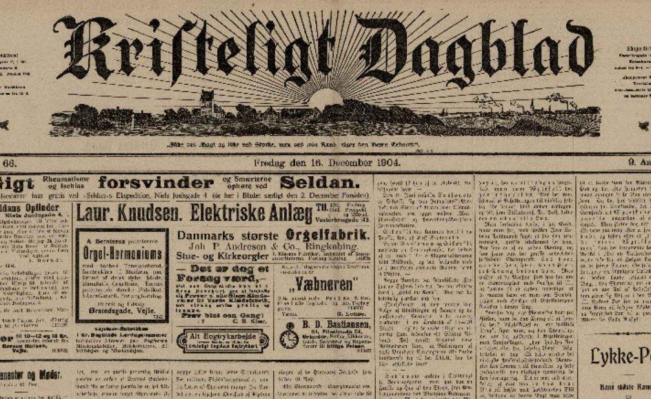 Anmeldelsen på forsiden af Kristeligt Dagblad 16. december 1904.