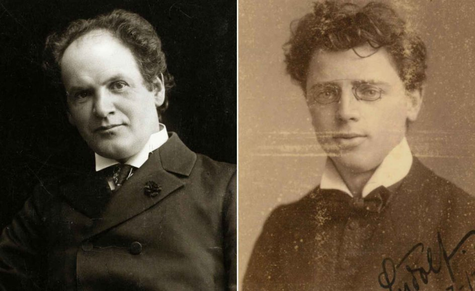 """August Enna (tv.) og Ludolf Nielsen (th.) """"kom ind med firetoget"""" til musikmiljøet i København. De var selvlærte og var med til at udvikle dansk musik, blandt andet fordi de begge havde gode forbindelser til udlandet. – Fotos fra bogen."""