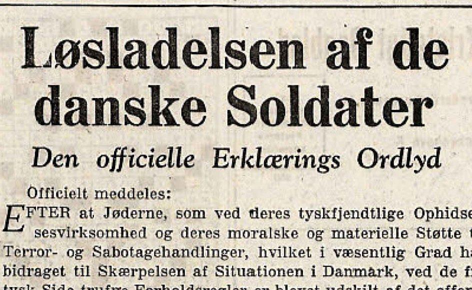 Den tyske erklæring i Kristeligt Dagblad den 3. oktober 1943.