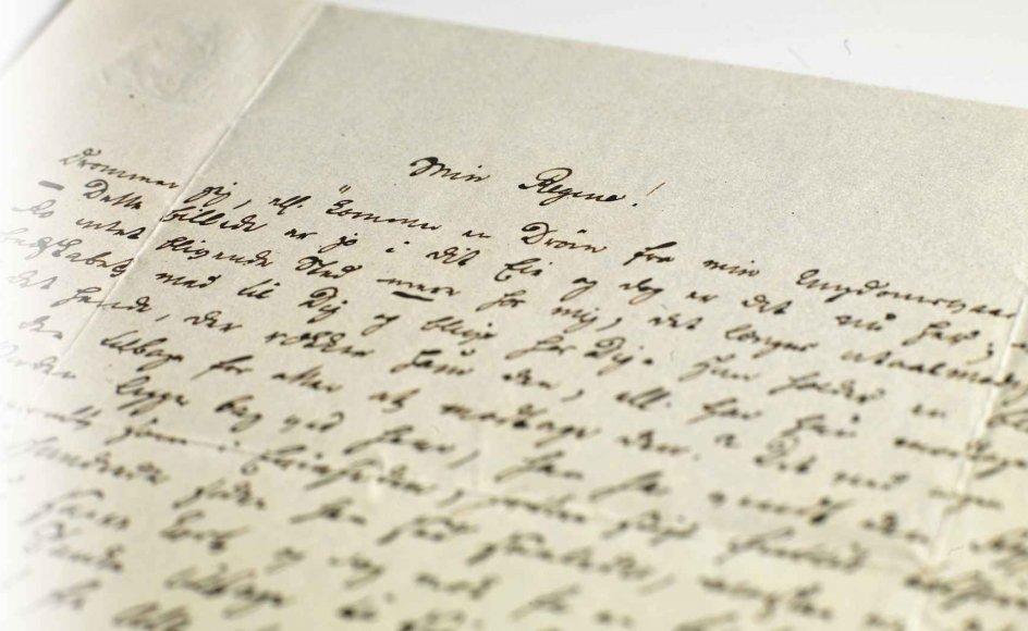 """Det Kongelige Bibliotek har flere af Søren Kierkegaards breve i håndskriftsamlingen. De er en kilde til viden om filosoffens sociale liv, herunder forholdet til Regine Olsen, som han her benævner """"Min Regine"""". – Alle fotos: Det Kongelige Bibliotek."""