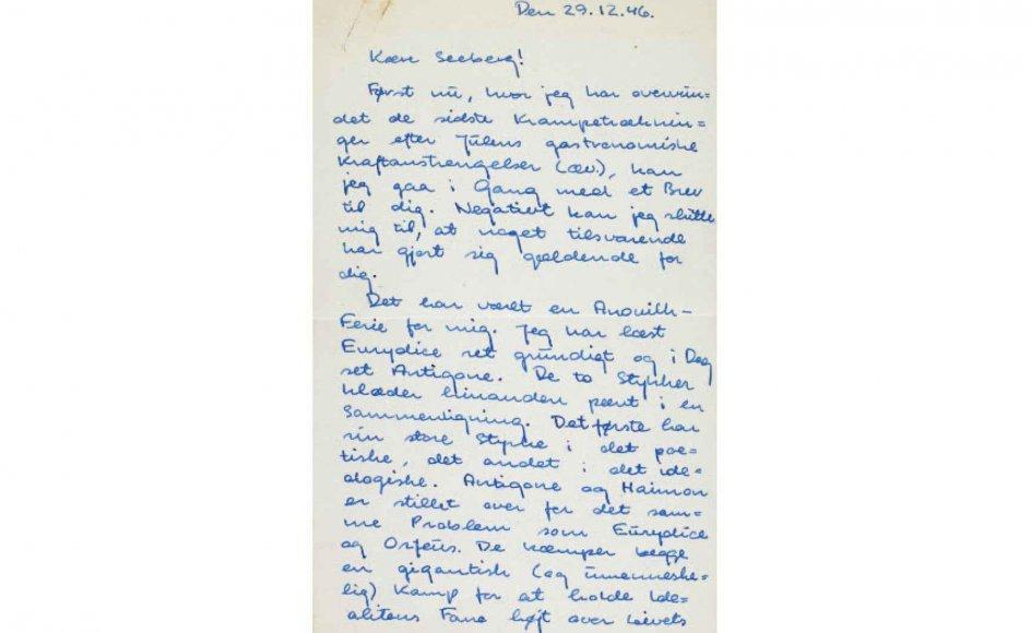 Udsnit af et brev, som Thorkild Hansen skrev til Peter Seeberg den 29. december 1946.