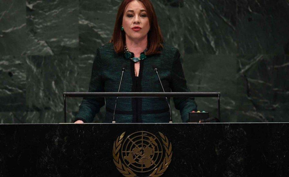 Formand for FN's Generalforsamling Maria Fernanda Espinosa håber, at medlemslandene kan overbevises til at gå med i pagten. Espinosa taler her ved FN's Generalforsamling i New York tidligere på året. (Arkivfoto)