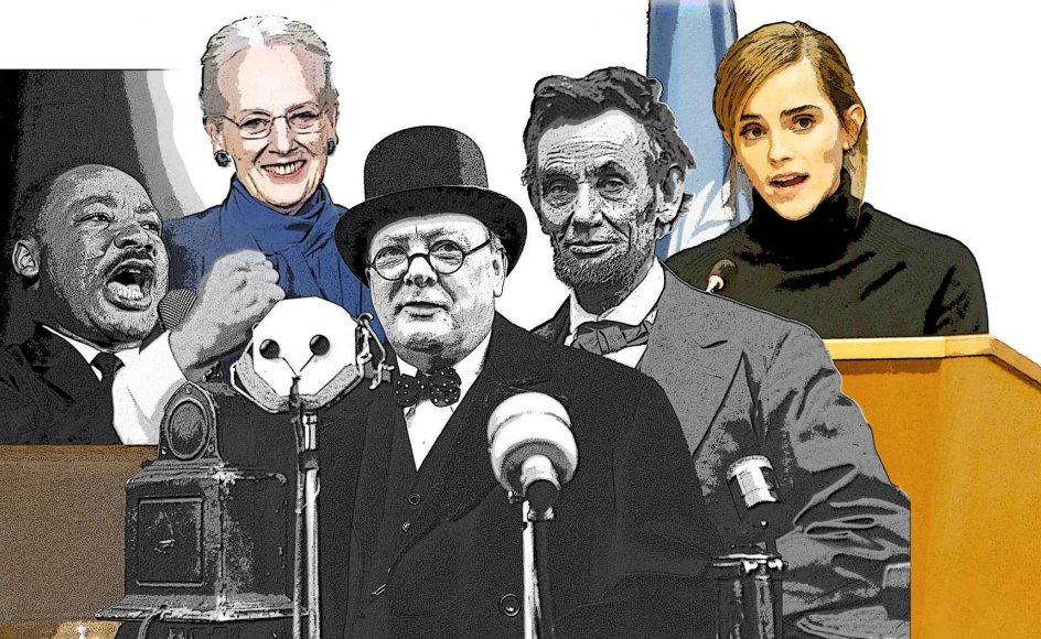 Martin Luther King, dronning Margrethe, Winston Churchill, Abraham Lincoln og Emma Watson har det tilfælles, at de alle har holdt taler, som har sat sig spor. – Fotos: Ritzau Scanpix. Grafisk bearbejdning: Ole Munk.