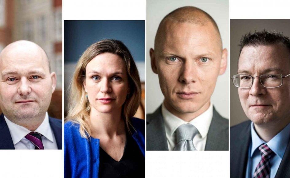Søren Pape Poulsen (K), Merete Riisager (LA), designer Jim Lyngvild og Kenneth Kristensen Berth (DF) er alle imod forslaget om at indføre kønsneutrale piktogrammer i trafiklys.