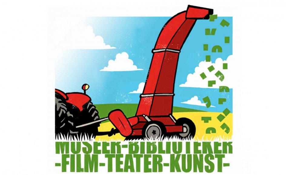 """""""Grønthøstermetoden"""" siden 1980'erne været en standardbetegnelse i medier og økonomiske opslagsværker for den fremgangsmåde, hvor politikere mekanisk foretager procentvis lige store besparelser eller nedskæringer på en række områder. Tegning: Rasmus Juul"""