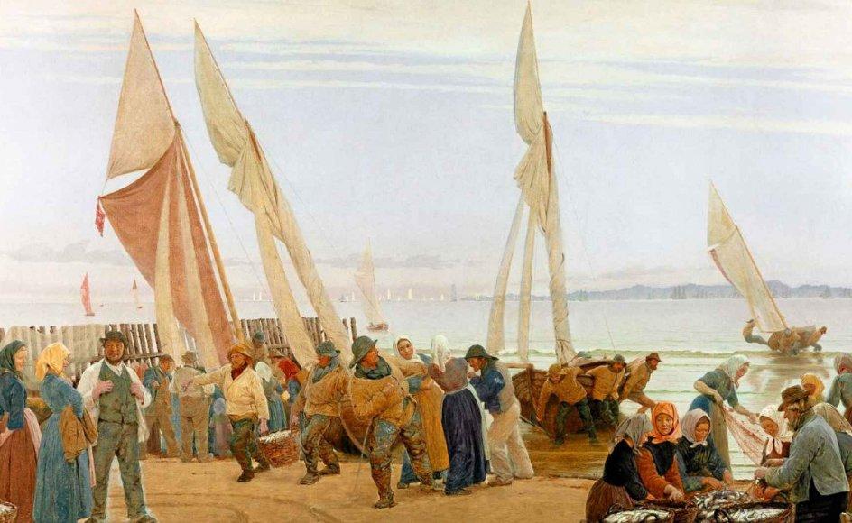 """""""Morgen ved Hornbæk. Fiskerne kommer i land"""" malede P.S. Krøyer i 1875. Dette daglige sceneri, hvor fiskerne overgiver dagens fangst til deres hustruer på land, gjorde Krøyer mange forstudier til, før han malede det oliemaleri, der i dag hænger på Den Hirchsprungske Samling. I horisonten anes Kullens klipper i Sverige. –"""