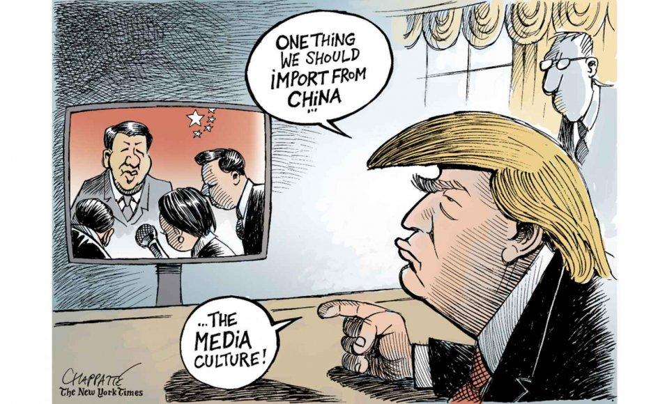 Patrick Chappatte har tegnet et hav af kritiske tegninger om Donald Trump for den internationale udgave af New York Times som denne, hvor Trump udtaler, at han godt kunne tænke sig at importere en underdanig mediekultur fra Kina.