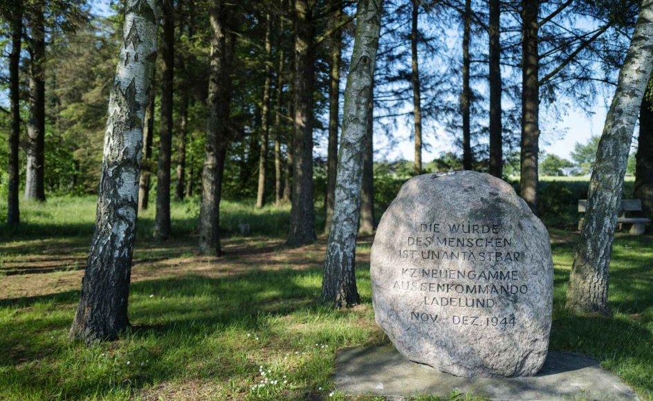 """I en lille mindelund ved det sted, hvor der engang lå en koncentrationslejr i Ladelund, har besøgende lagt småsten på mindestenen – en skik, der oprindelig er jødisk. """"Menneskenes værdighed er urørlig,"""" står der på mindestenen. –"""