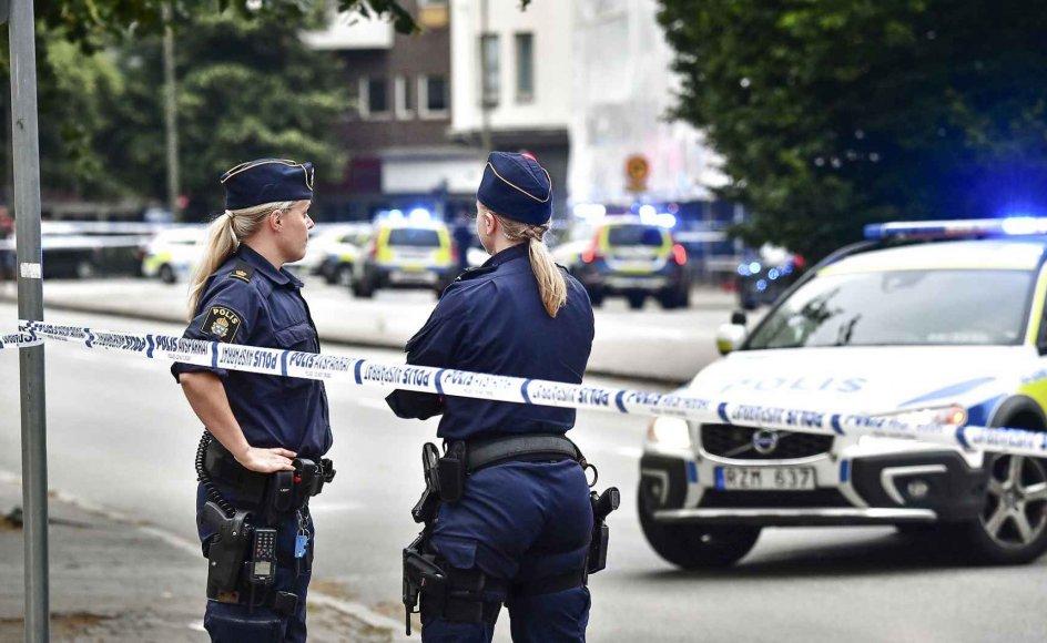 Billedet er fra et større skyderi på åben gade i Malmø i 2018.