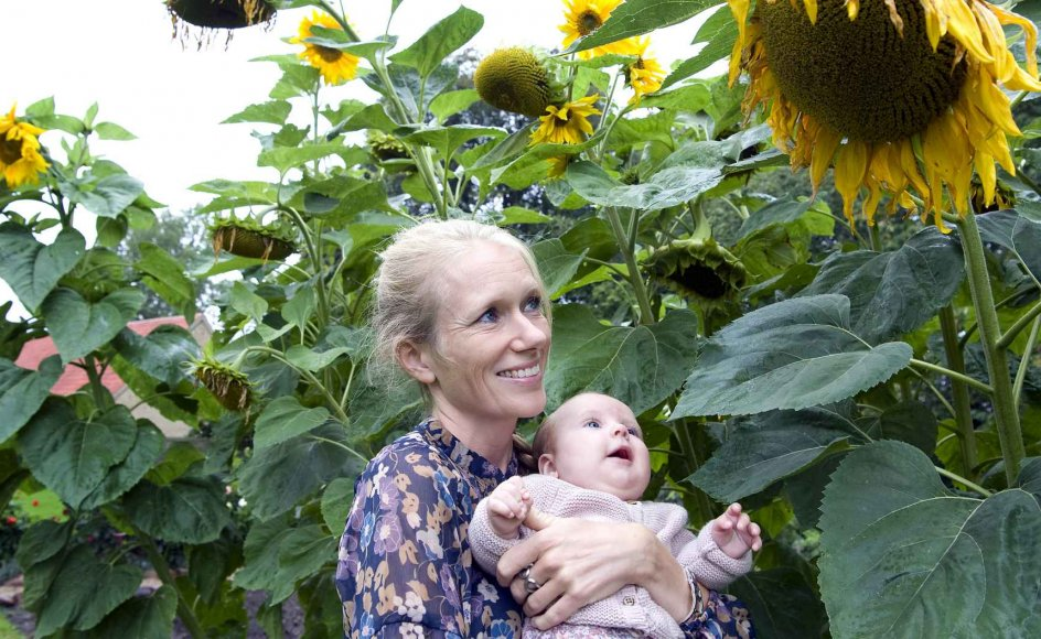 Dagen før Lillens fødsel den 21. maj kom sognepræst Marie Høgh solsikkefrø i jorden. De seneste måneder har hun opdaget, at blomsternes gule hoveder kan få den lille datter til at smile.