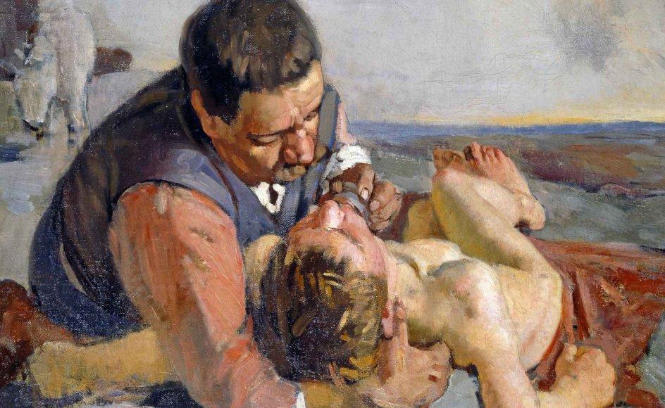 """Indlevelsen i den såredes situation er fremhævet på dette maleri med titlen """"Den barmhjertige samaritaner"""". Det er malet af den schweiziske kunstner Ferdinand Hodler (1853-1918) og kan ses på Kunsthaus Zürich i Schweiz. –"""
