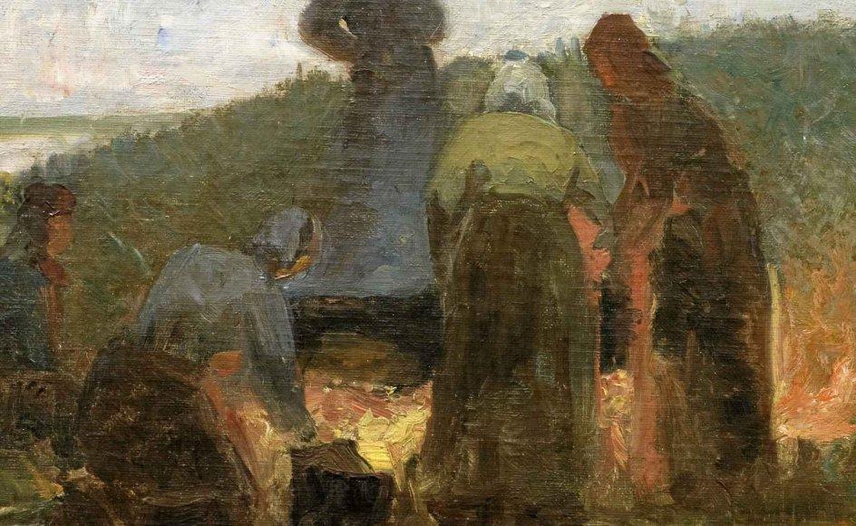 Laurits Tuxen (1853-1927) var den første akademiuddannede kunstner, der kom til Nymindegab og blev fascineret af blandt andet fiskerkonerne, der kogte tran på stranden. Trankogning ved Nymindegab, ukendt årstal. –