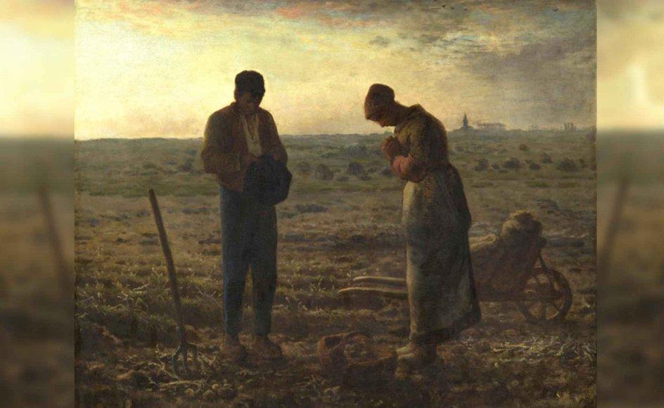 """Markarbejdere stopper op for at bede. Bertrand Vergely sætter stor pris på situationen, som for ham forbinder bønnens verden med hverdagen. """"Angelus"""" hedder maleriet, der kan ses på museet Musée D'Orsay i Paris. Det har været en historisk tradition i Frankrig, at klokker ringede til bøn i landområder, hvorpå bønder afbrød deres arbejde og bad Angelus-bøn. Maleren Jean-Francois Millet (1814-1875) har beskrevet, at hans bedsteforældre havde denne skik. –"""