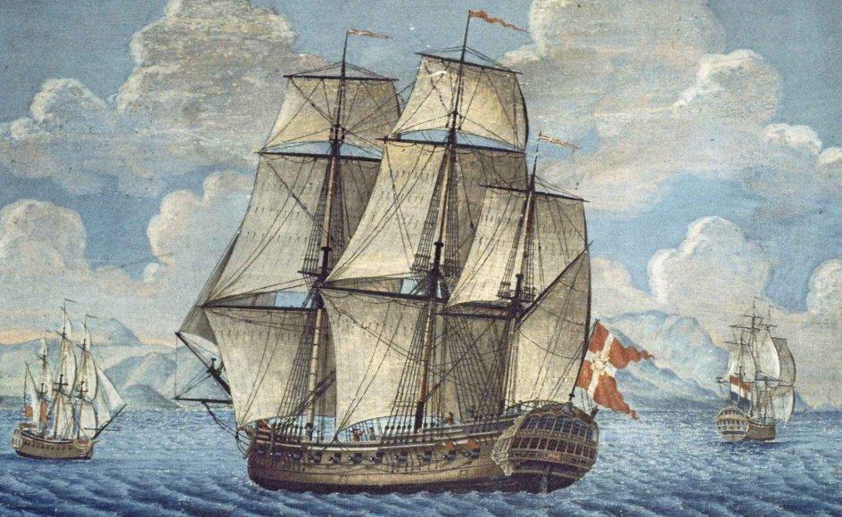Fregatter som denne bragte stor velstand til Danmark fra Kina, og man kan stadig se sporene efter handlen med Kina i dansk erhvervsliv. - Foto: Wikicommons.