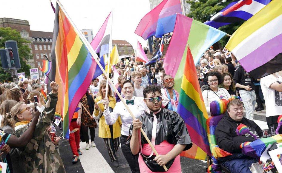 """""""Når børn og unge bliver præsenteret for mere end én måde at være og elske på, er det med til at aftabuisere og samtidig oplyse om, at vi mennesker er forskellige og lever på mange måder,"""" skriver Mio Lambers, bestyrelsesmedlem i LGBT+ Ungdom. Billede fra Copenhagen Pride i august 2019."""