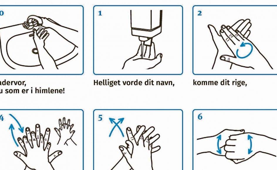 Mens man alligevel står og vasker hænder, kan man bruge tiden på at bede fadervor, mener den svenske kirke. Se hele illustrationen af den kombinerede bøn og håndvask længere nede i artiklen. Illustration: Rikke Tange/who
