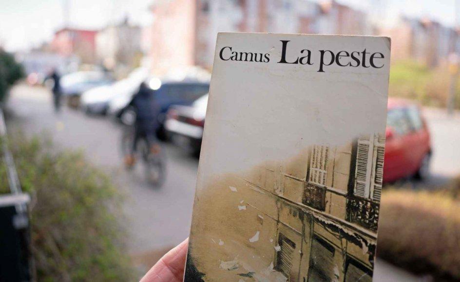 """Albert Camus' roman """"Pesten"""", her i en fransk-sproget version, er i firbindelse med coronavirussens indtog i Europa atter blevet en bestseller, 73 år efter den udkom første gang. – Foto Frank Rumpenhorst/dpa/Ritzau Scanpix."""
