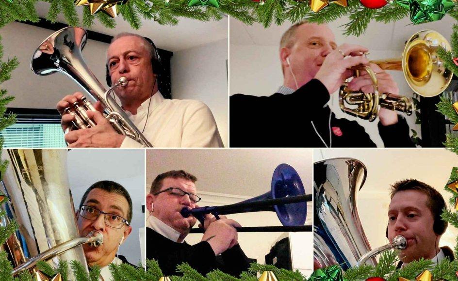 Lars Lydholm har optrådt mange gange til julekoncerter, der sikrer indsamling. Her ses han (øverst til højre) sammen med andre musikere fra Frelsens Hær. De kan ikke optræde i København i år og kan i stedet ses og høres i denne video.
