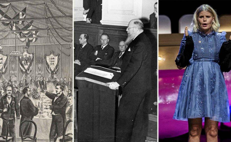 (til venstre) En af de store talere i Danmarks oratoriske guldalder midt i 1800-tallet var juristen og politikeren Orla Lehmann. Her skåler han for franske gæster ved en fest i Klampenborg i 1867, som blev gengivet i Illustreret Tidende samme år. (i midten) Thorvald Stauning (S), der var statsminister 1924-1926 og 1929-1942, var kendt for sine korte og konkrete taler. Her taler han til Rigsdagen den 9. april 1940. (til højre) Tv-værten Sofie Linde holdt i august det, der siden blev kåret til årets danske tale ved showet Zulu Comedy Galla i Operaen i København. Talen fik hele Danmark til at diskutere sexisme.