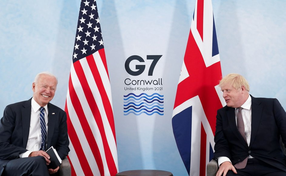 Joe Biden og de europæiske ledere, som han møder de kommende dage, må være sig bevidste om, at de skal have styr på deres egen baghave, før de kan tage sig af for eksempel Kina, mener den amerikanske professor Charles Kupchan. Her ses Joe Biden sammen med Boris Johnson torsdag den 10. juni.