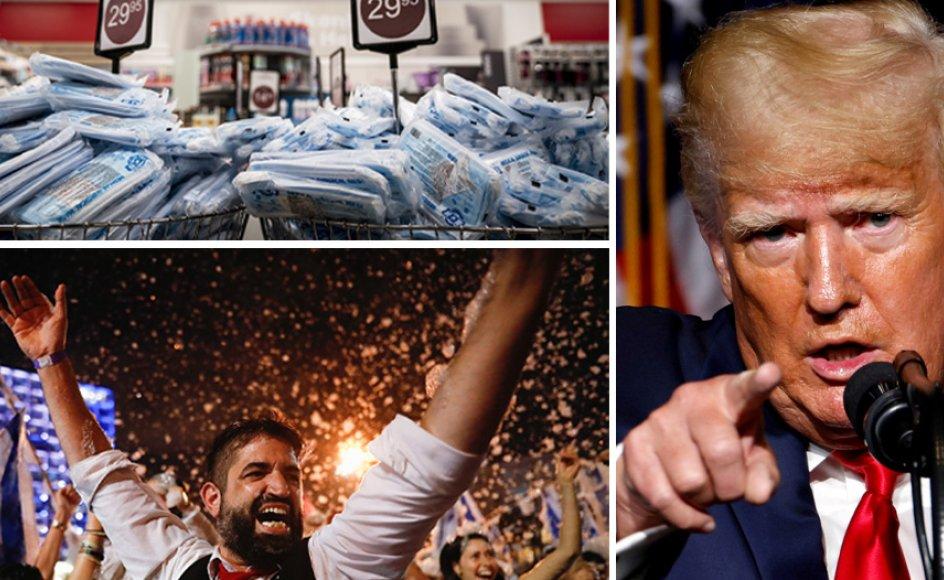 Mundbind fylder supermarkedernes lagre, gadefest i Tel Aviv og Donald Trump fylder 75 år.