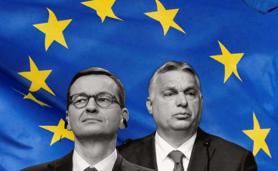 EU strammer nettet omkring Polen og Ungarn og deres respektive ledere, Ungarns premierminister, Viktor Orban (til højre) og Polens premierminister, Mateusz Morawiecki.