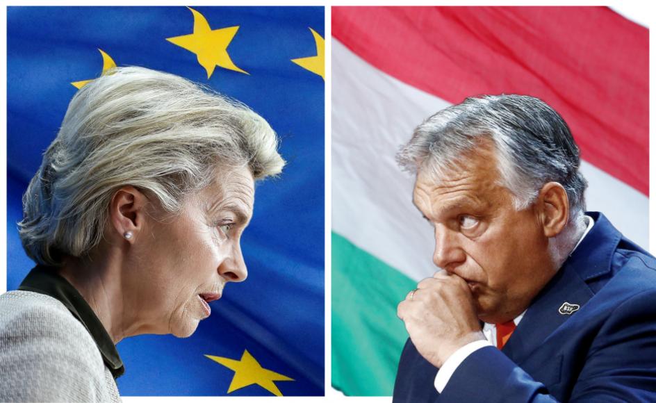 """I et ualmindeligt skarpt angreb kaldte EU-Kommissionens formand, Ursula von der Leyen (til venstre), den ungarske lov for """"en skændsel"""", der er i strid med EU's grundlæggende værdier. Den ungarske regeringsleder Viktor Orbán (til højre) hævder at repræsentere et nationalistisk og konservativt alternativ til de vesteuropæiske demokratier."""