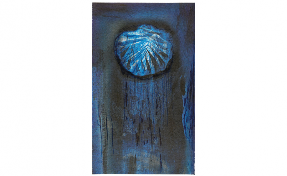 """""""Brød, vand og vin"""" er tænkt af Maja Lisa Engelhardt som en trefløjet altertavle, indeholdende sakramenternes væsentlige elementer."""