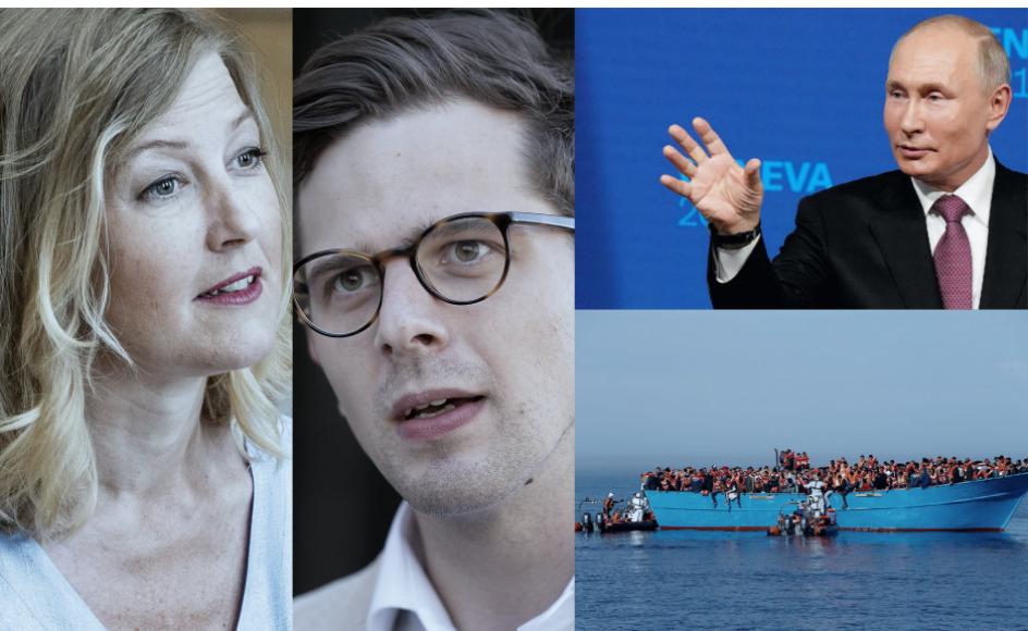 """Sofie Carsten NIelsen (R) og Alexander Vanopslagh (LA) lufter tanker om et fremtidigt regeringsgrundlag, Biden og Putin melder om """"ret konstruktivt"""" møde, og hverken syd- eller nordeuropæiske lande ønsker at tage ansvar for skibbrudne migranter på Middelhavet. Foto: Mads Claus Rasmussen, Claus Bech, Darrin Zammit Lupi, Alexander Zemlianichenko."""