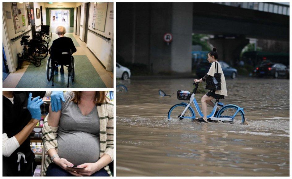 Andelen af ufaglærte i ældreplejen er stigende, gravide og ammende kan nu blive vaccinerede mod corona, og massive oversvømmelser rammer det centrale Kina.