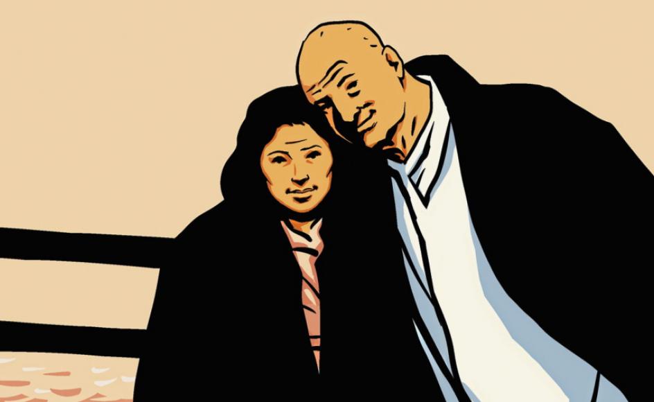 Selvportræt med hustruen Jenna Kim-Rehr. – Tegning: Henrik Rehr.