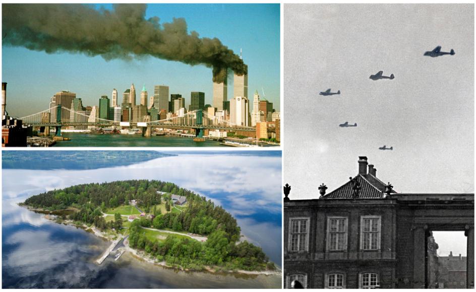 Terroristers angreb på USA den 11. september år 2001, angrebet på unge på øen Utøya år 2011 og tysk besættelse af Danmark i år 1940 er blandt de begivenheder, som har medført de såkaldte blitzerindringer.