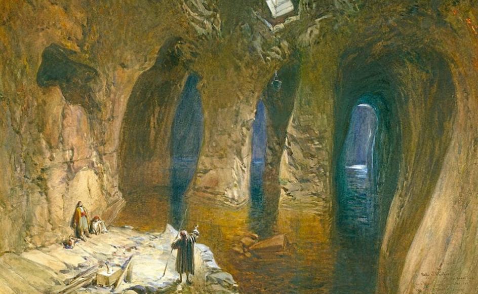 """William Simpsons maleri fra 1872 af det største vandreservoir under tempelpladsen, der gik under navnet """"det store hav""""."""