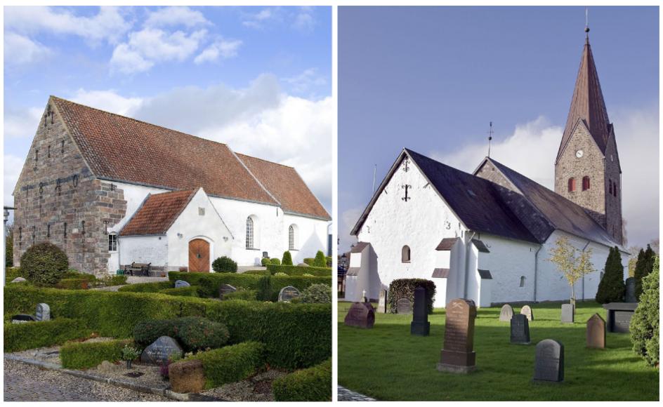 Til højre ses Holbøl Kirke, til højre Bov Kirke. De to kirker hørte kortvarigt under Bov-Holbøl Pastorat efter en sammenlægning. Sammenlægningen er nu annulleret igen.