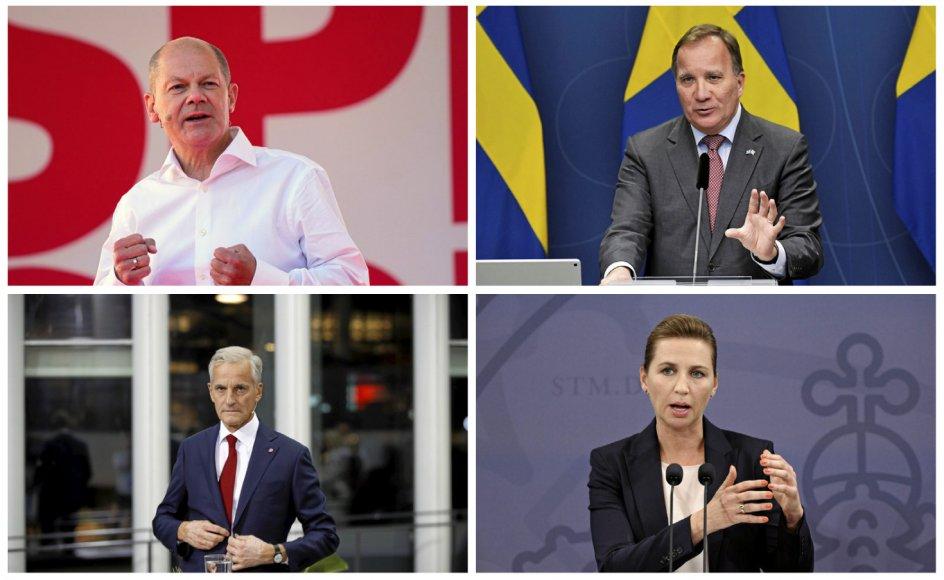 Socialdemokratiet i Norden og Tyskland med (fra venstre) danske Mette Frederiksen, norske Jonas Gahr Støre, svenske Stefan Löfven og tyske Olaf Scholz kan næppe bringe partiet tilbage til tidligere tiders stemmeandel på 35-45 procent af stemmerne.