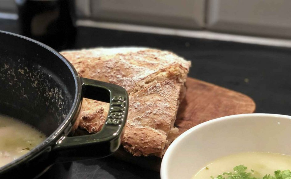 Man skal tilsætte ris til suppen, hvilket giver den en cremet konsistens. – Foto: Else Marie Nygaard.