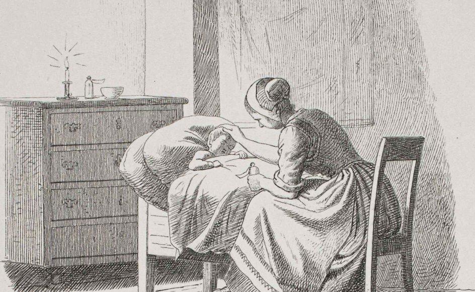 """Hvad følte denne mor, som har lagt en kærlig hånd på sit døende barns pande? Litografi fra 1861-1862, """"Dødens komme"""", Adolph Kittendorff. – Foto: Statens Museum for Kunst."""