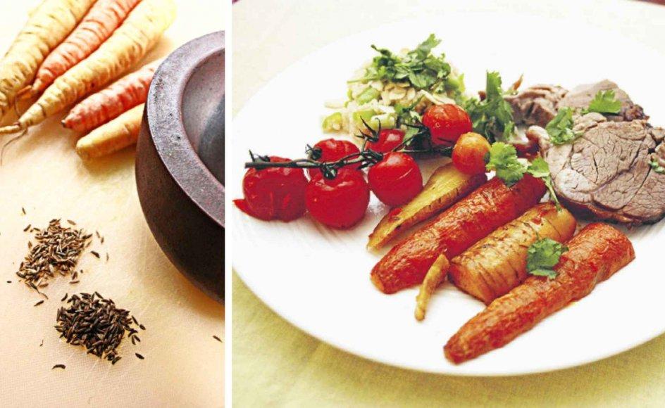 De små spidse frø ligner hinanden, men kommen (th.) er noget mørkere end spidskommen. Hvor kommen i det danske køkken mest er kendt fra brød og ost, så hører spidskommen til i det varme køkken. De to frø kan dog sagtens indgå i den samme ret, viser Bjarne Nørum i denne uges lørdagsmad.