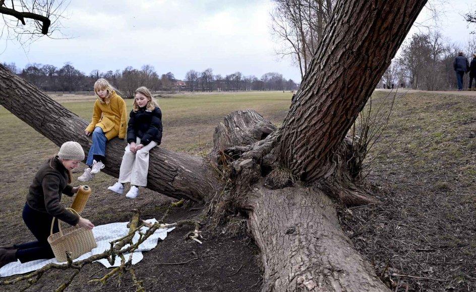 Kristeligt Dagblads journalist Else Marie Nygaard på vandretur med sin datter Anna og hendes veninde ved Damhussøen