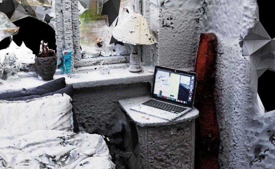"""Billedet er fra Cecilie Penneys værk """"Form dig som en kugle"""", hvor man kan besøge og bevæge sig rundt i fem forskellige lokationer, som kunstneren var i kontakt med i forbindelse med en depression, og som hun har transformeret til et digitalt landskab. – Foto: Cecilie Penney/KP21-digital."""