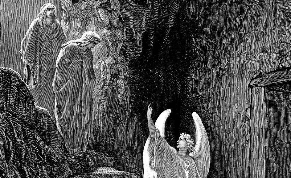 Der var ingen Jesus, men blot en engel, da kvinderne kom for at salve Jesu legeme. Her ses Gustaves Dorés gengivelse af situationen.  – Foto: Ritzau Scanpix.