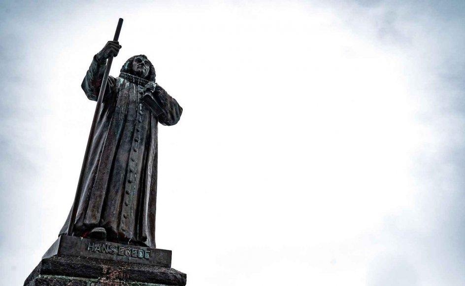 Statuen af den dansk/norske præst Hans Egede i Nuuk, tirsdag den 30. marts 2021. Der afholdes valg til parlamentet i Grønland tirsdag den 6. april.